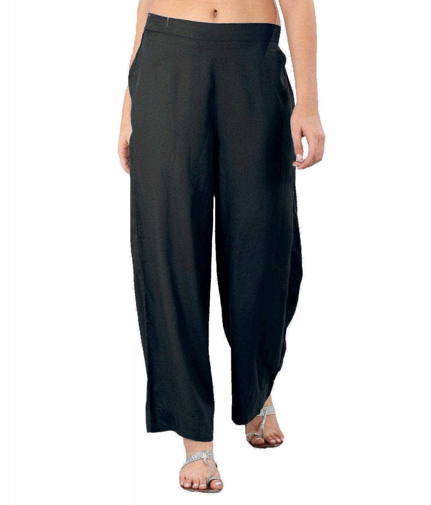 Regular Straight Fit Palazzo Pant in Black