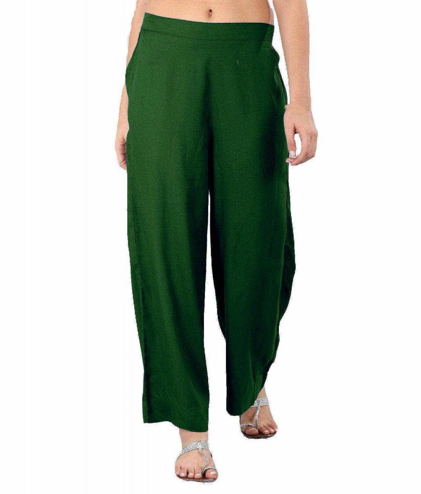 Regular Straight Fit Palazzo Pant in Bottle Green