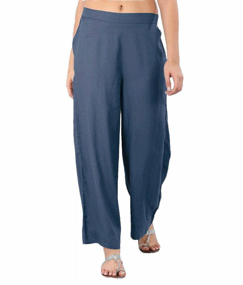 Regular Straight Fit Palazzo Pant in Charcoal Grey