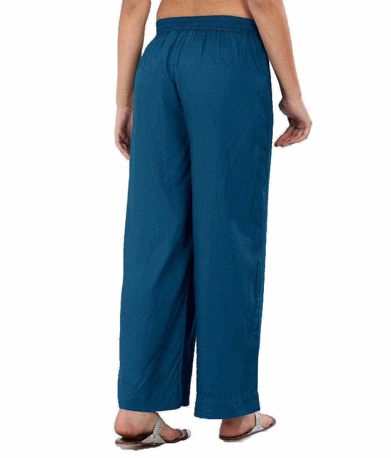 Regular Straight Fit Palazzo Pant in Sky Blue