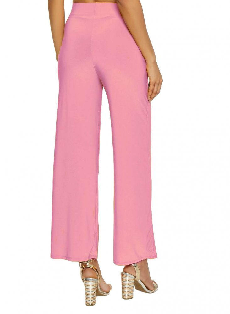 Relaxed Fit Culottes Trousers in Baby Pink