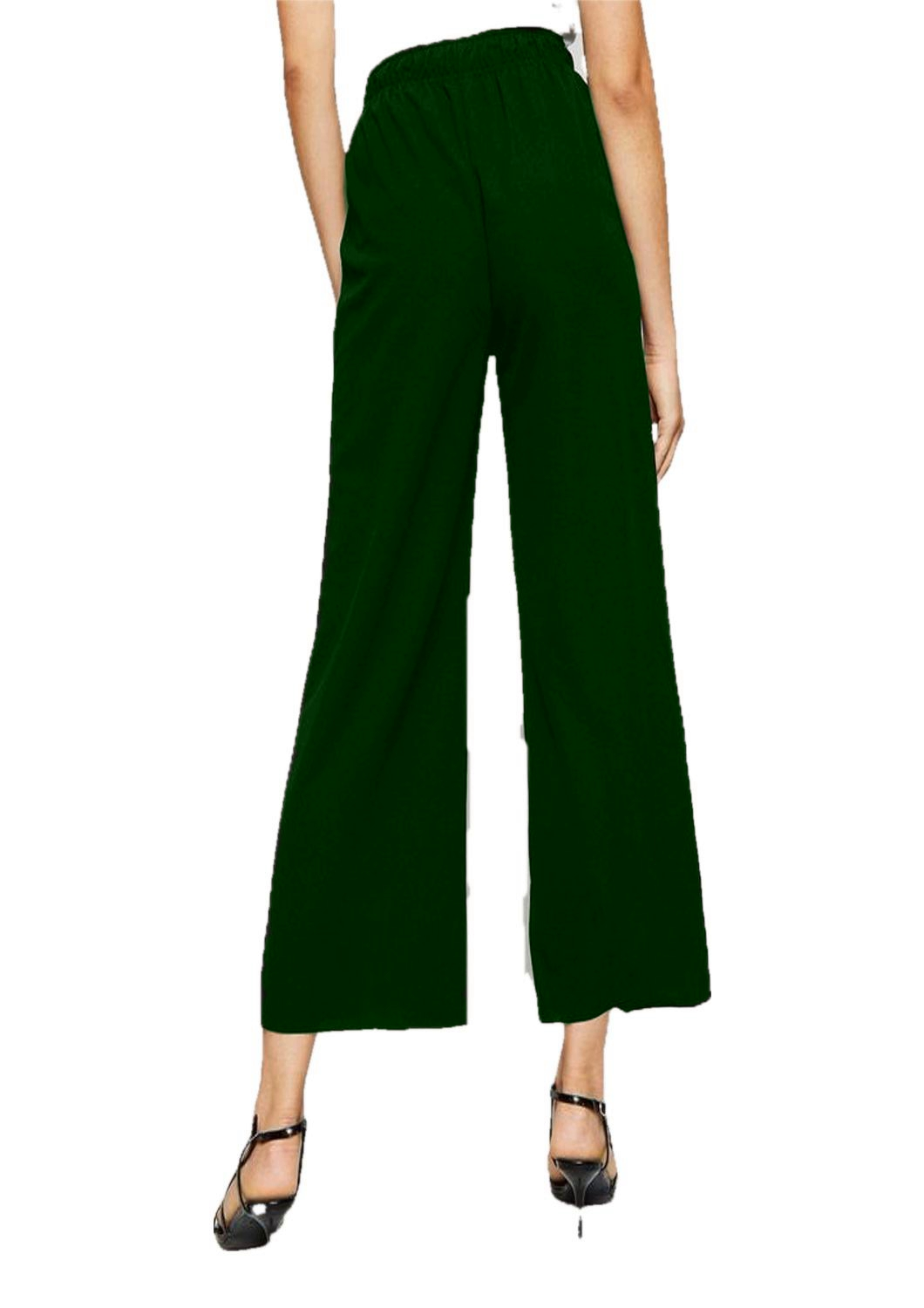 Relaxed Fit Culottes Trousers in Bottle Green