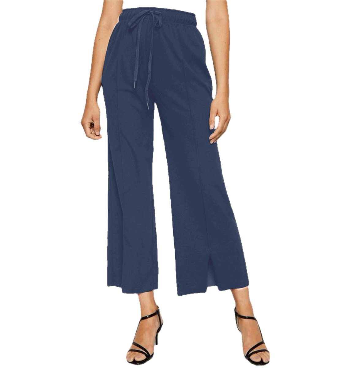 Relaxed Fit Culottes Trousers in Charcoal Grey