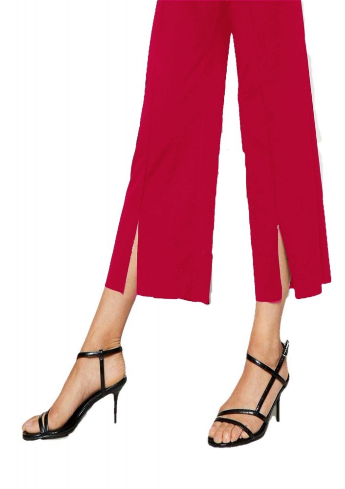 Relaxed Fit Culottes Trousers in Fuchsia