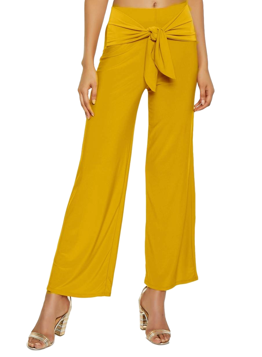 Relaxed Fit Culottes Trousers in Mustard