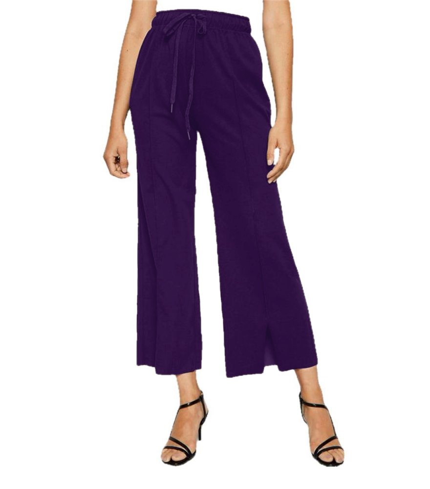 Relaxed Fit Culottes Trousers in Purple