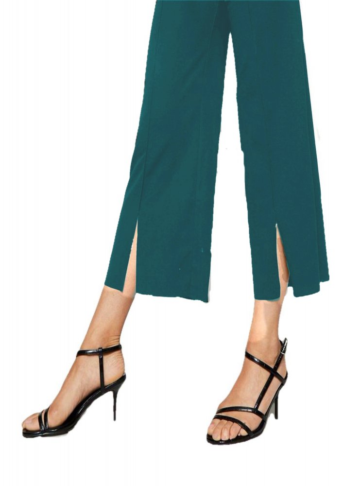 Relaxed Fit Culottes Trousers in Rama Green