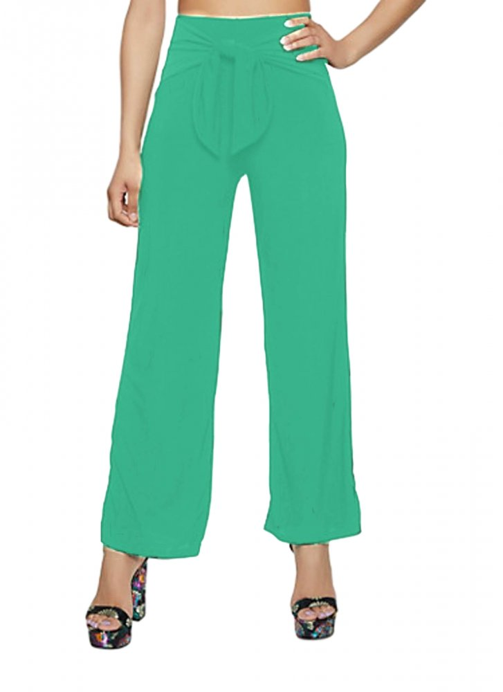Relaxed Fit Culottes Trousers in Teal Green