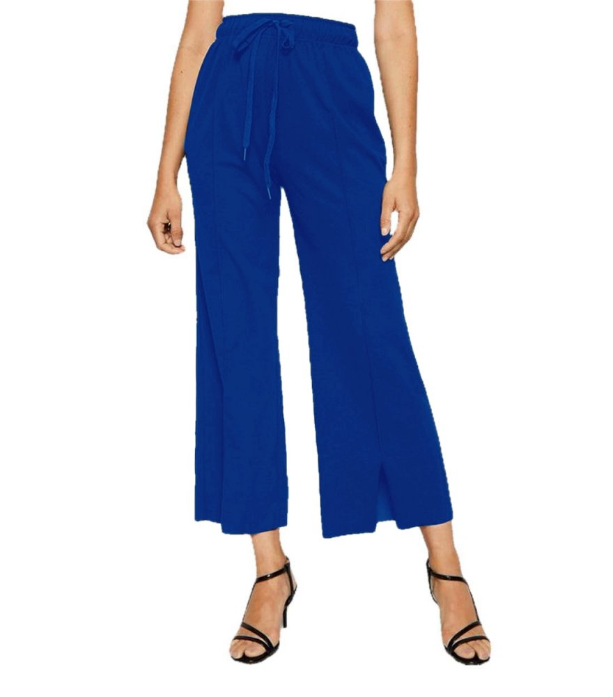 Relaxed Fit Culottes Trousers in Turquoise Blue