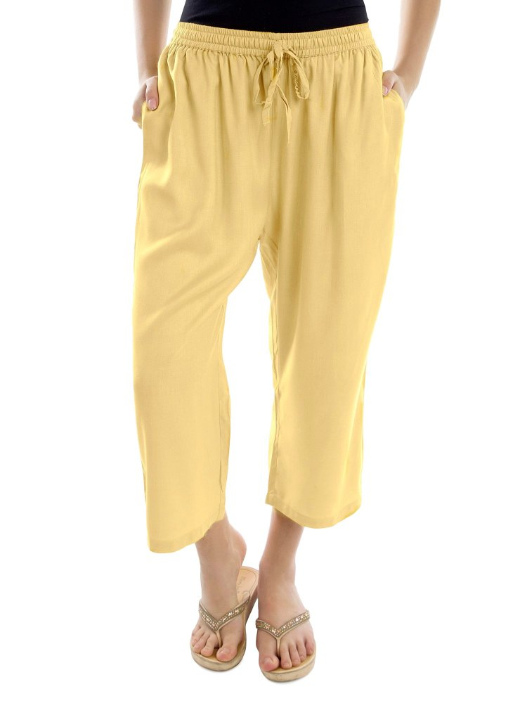 Relaxed Flowy Fit Capri Pant in Gold