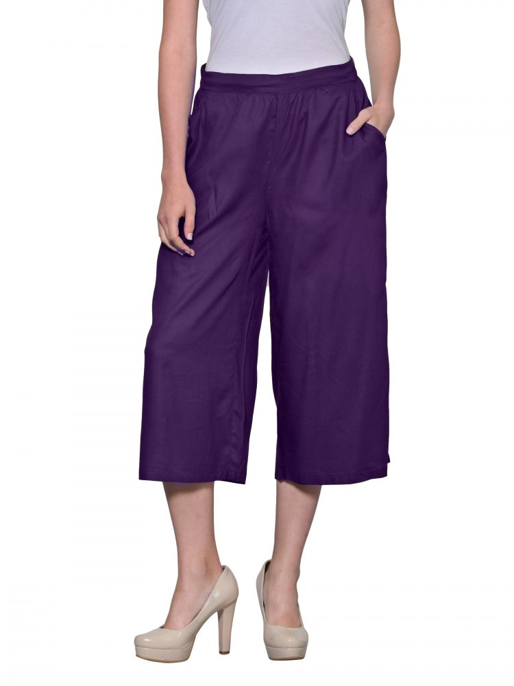 Relaxed Flowy Fit Capri Pant in Purple