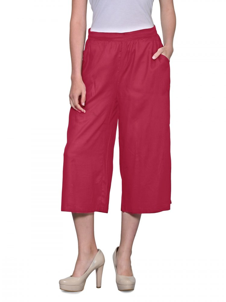 Relaxed Flowy Fit Capri Pant in Vinyl Hot Pink