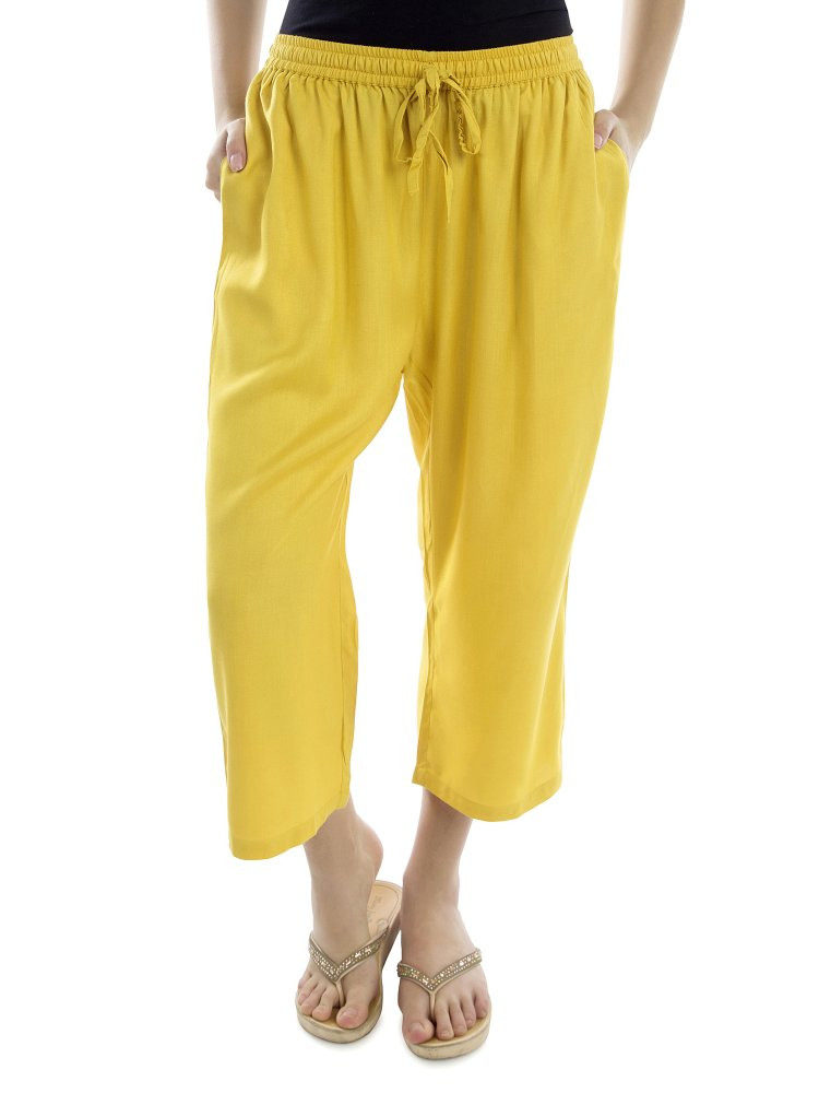 Relaxed Flowy Fit Capri Pant in Yellow