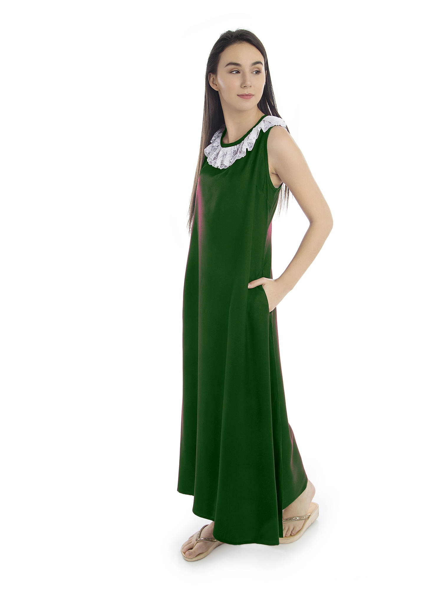 Round Lace Embellished Neck Maxi Nighty in Bottle Green