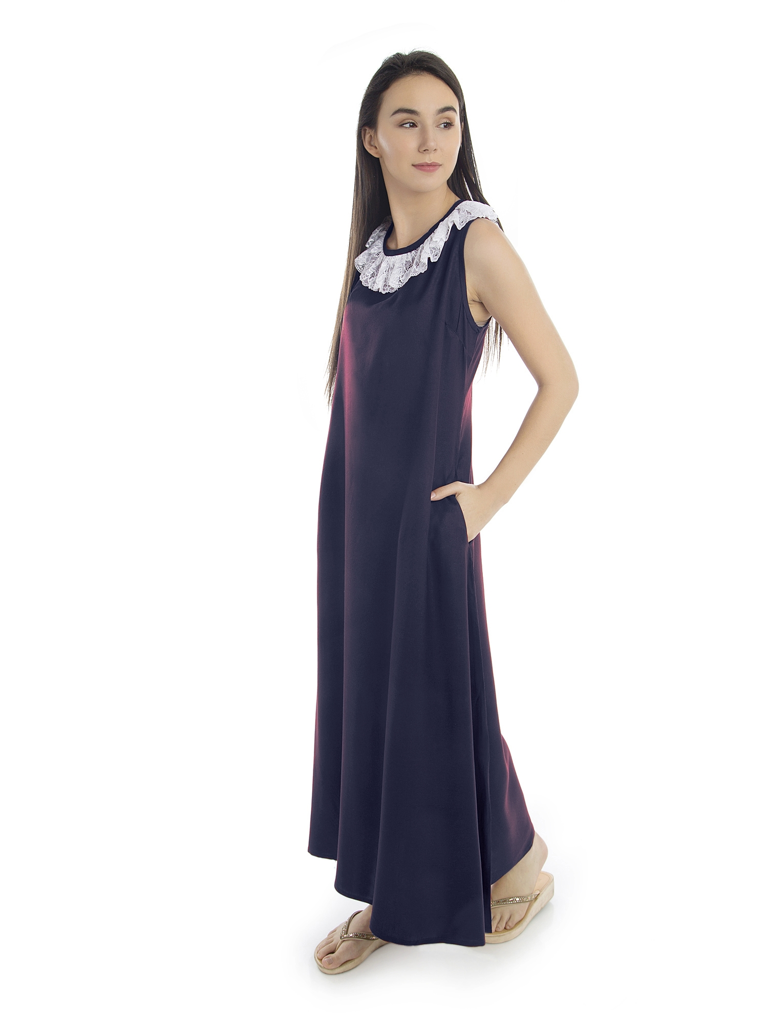 Round Lace Embellished Neck Maxi Nighty in Dark Blue