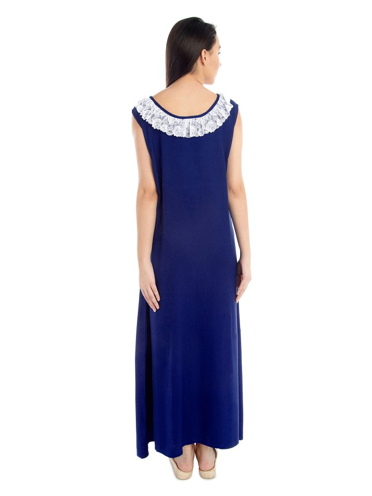 Round Lace Embellished Neck Maxi Nighty in Royal Blue