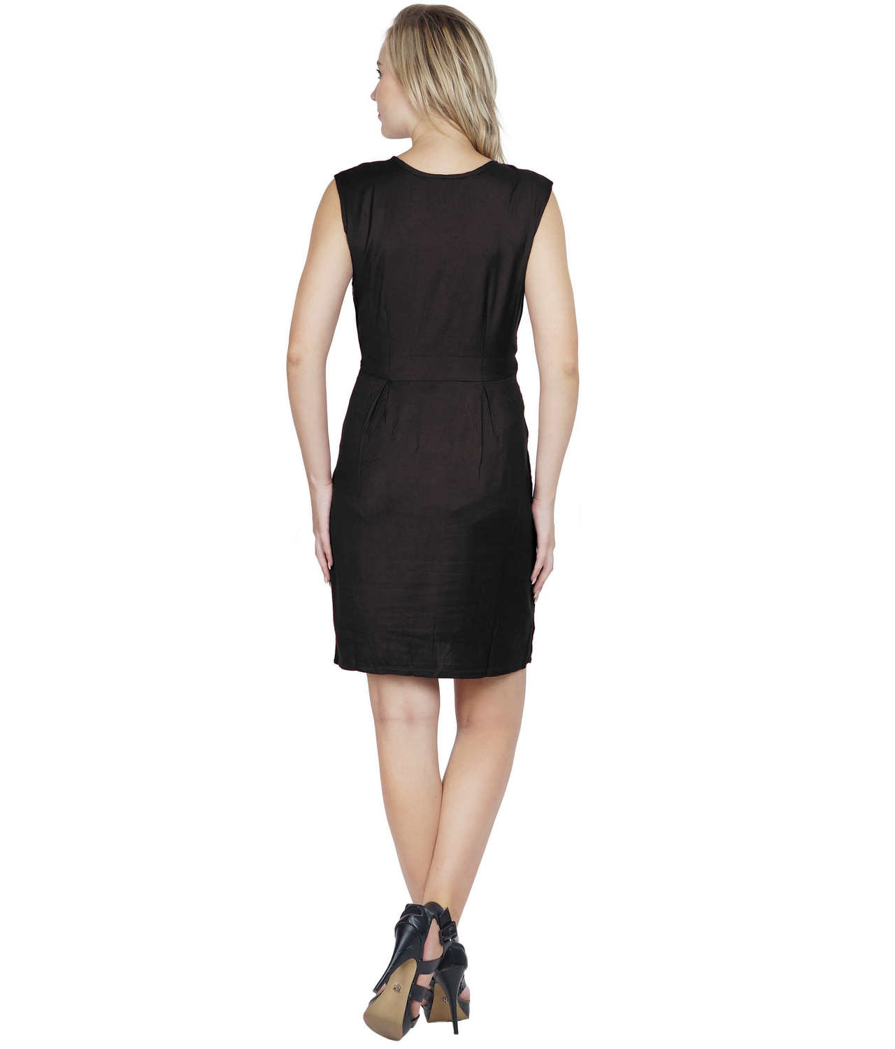 Ruched Cocktail Tulip Midi Dress in Black