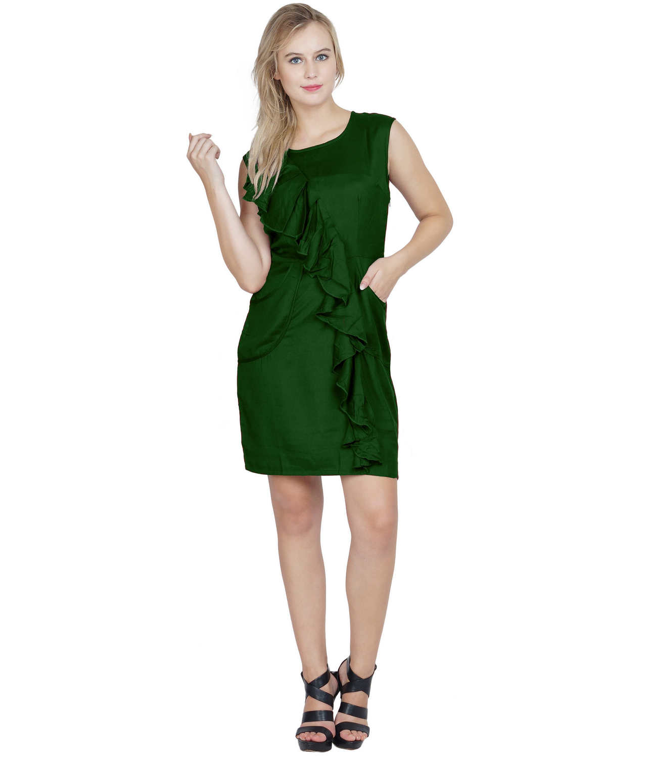 Ruched Cocktail Tulip Midi Dress in Bottle Green