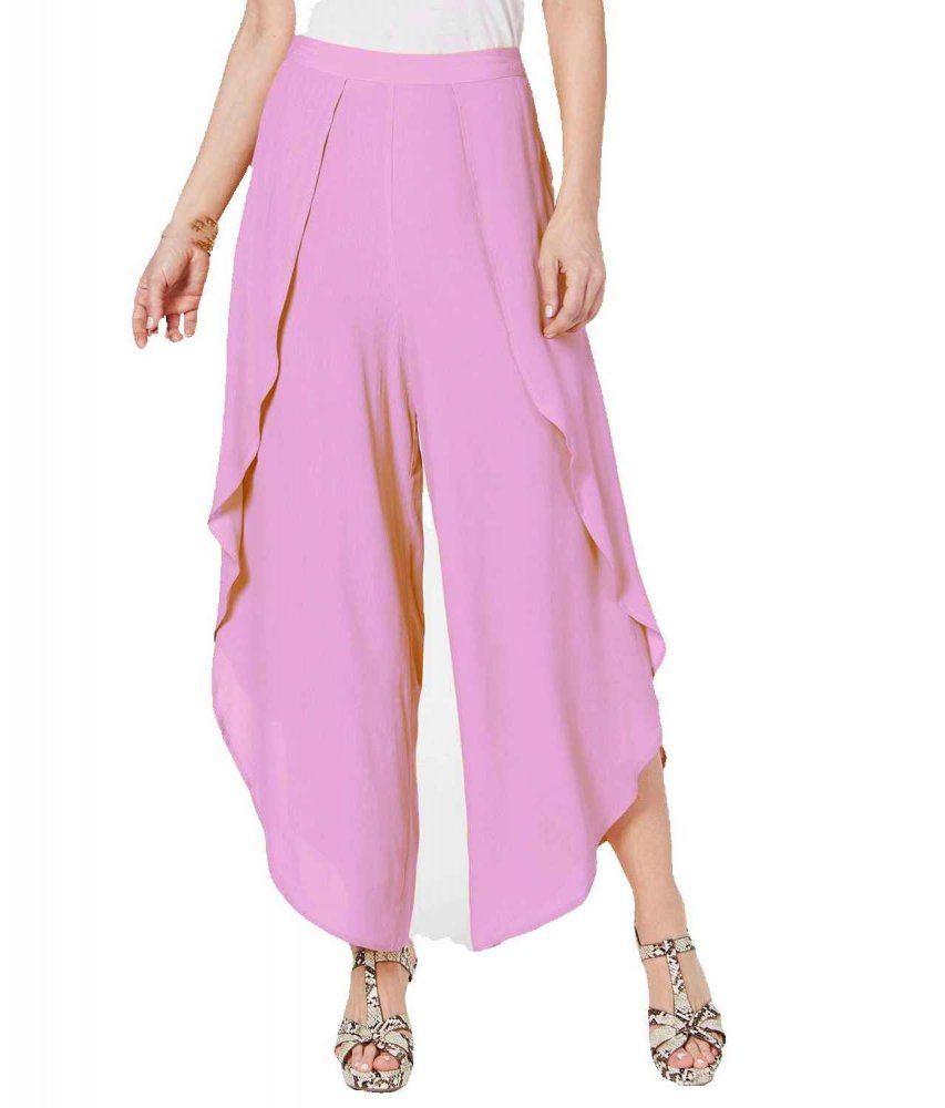 Ruffle Palazzo Pant in Baby Pink