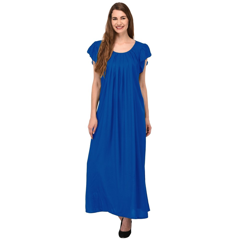 Scoop Neck Pleated Shift Nighty in Turquoise Blue