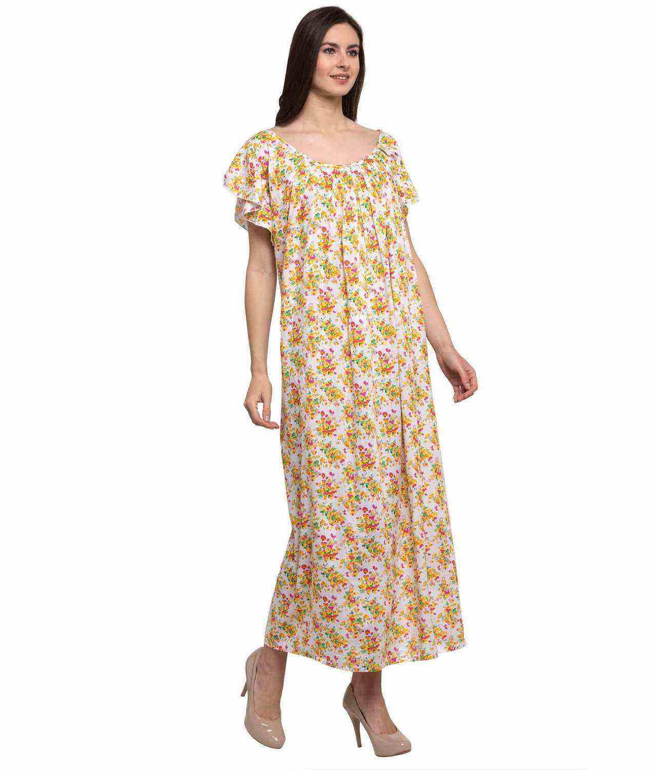 Scoop Neck Pleated Shift Printed Nighty in Yellow