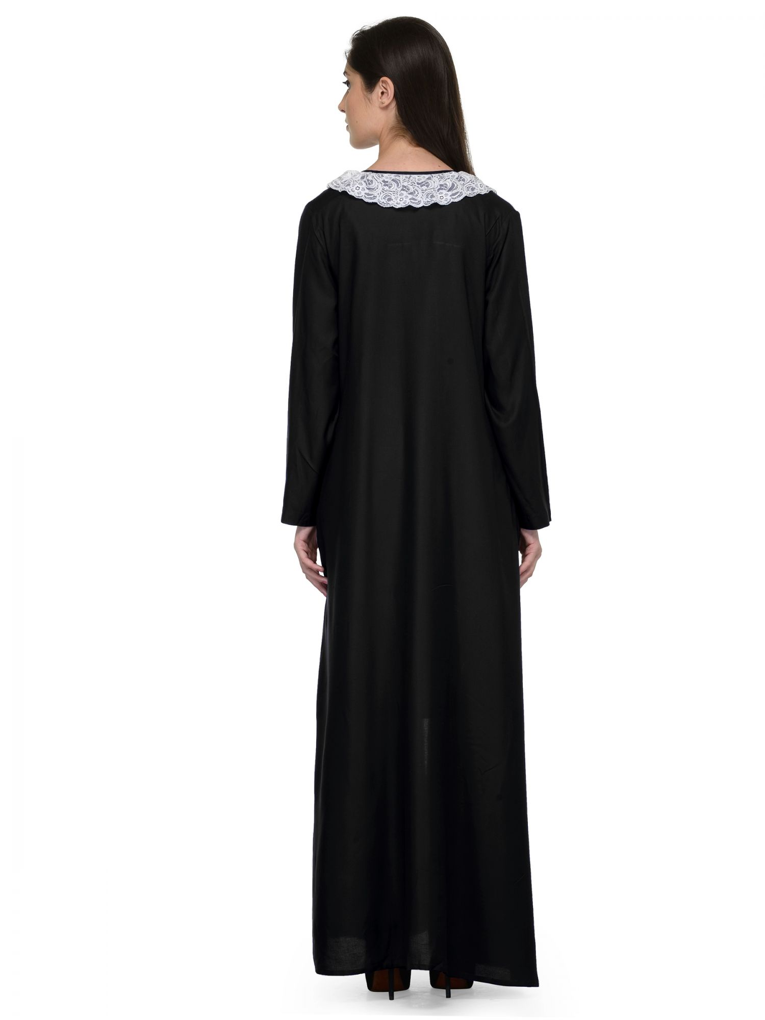 Shift Nighty With Embellished Robe in Black