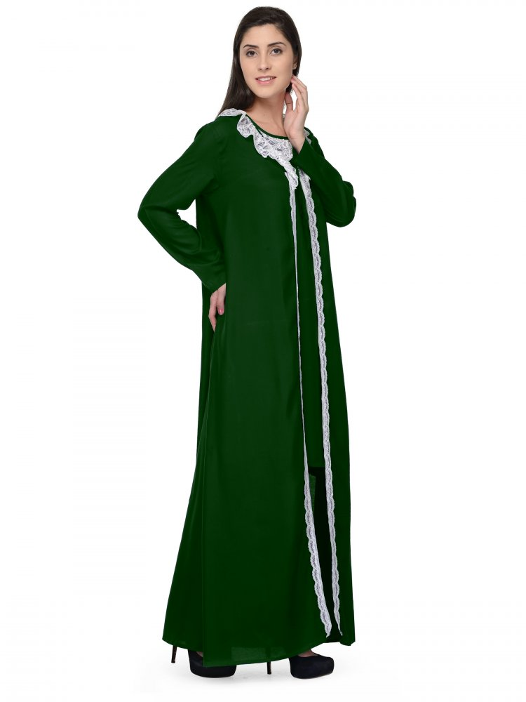 Shift Nighty With Embellished Robe in Bottle Green