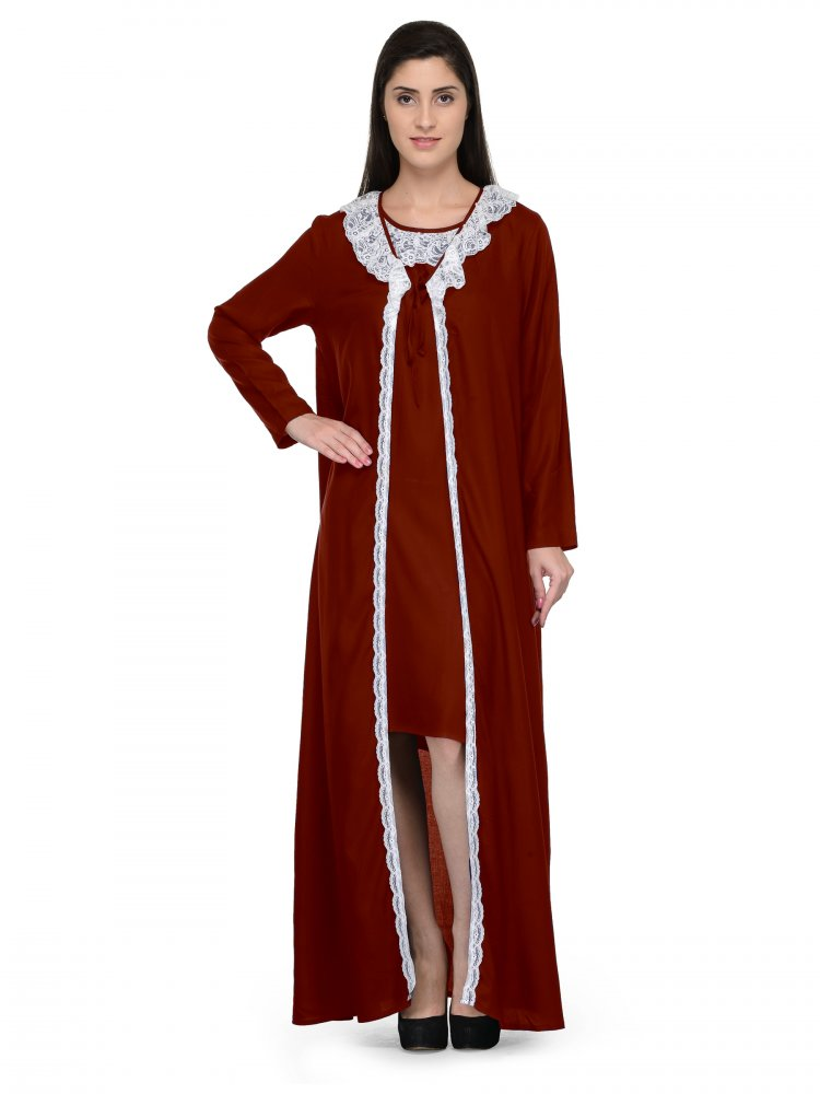 Shift Nighty With Embellished Robe in Maroon