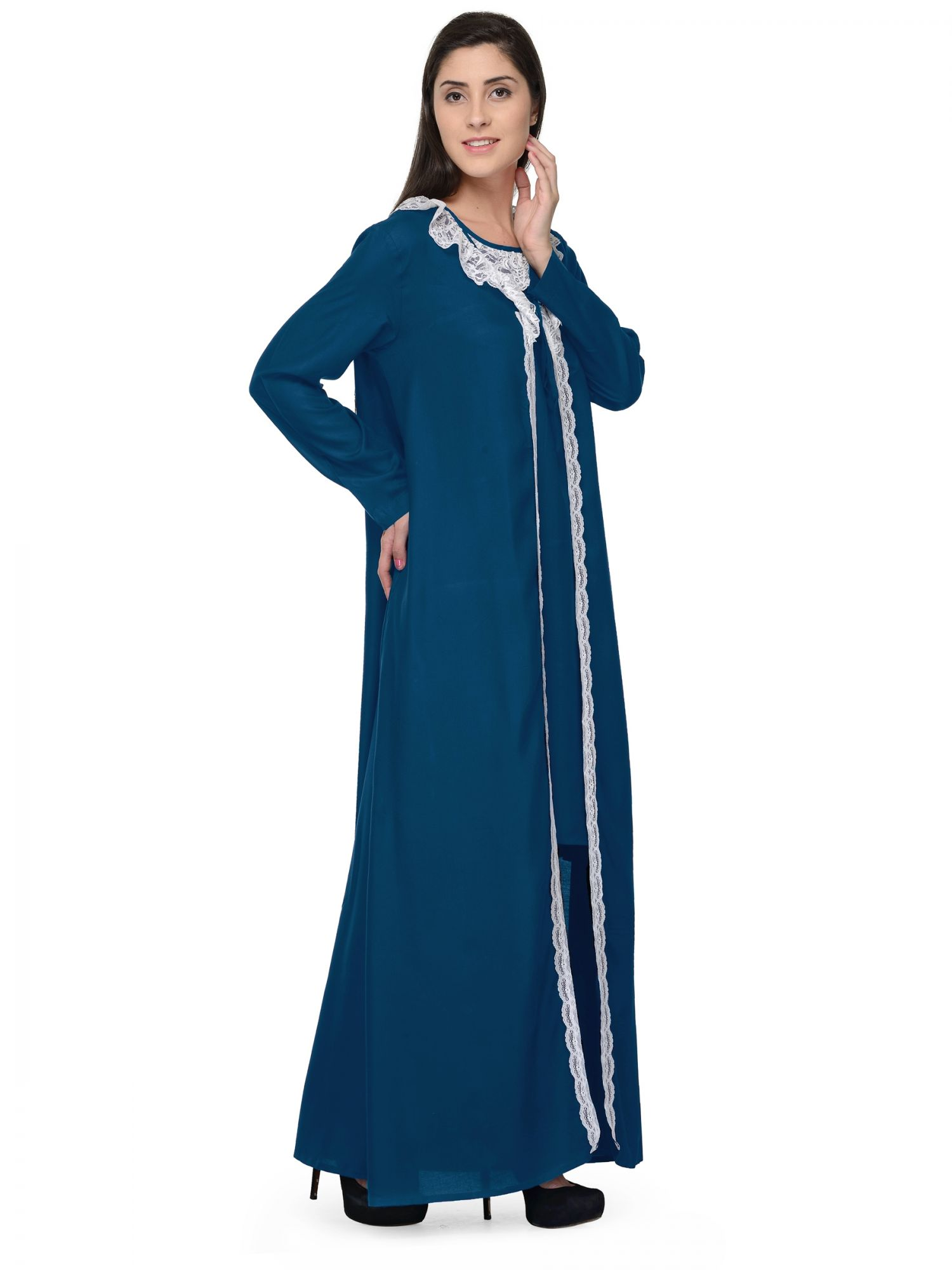 Shift Nighty With Embellished Robe in Sky Blue