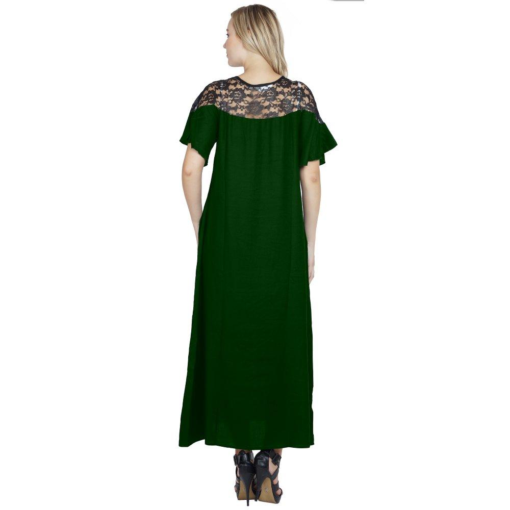 Shift Style Lace Embellished Kimono Slleeve Dress in Bottle Green