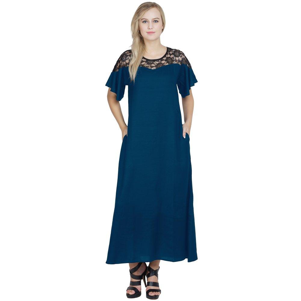 Shift Style Lace Embellished Kimono Slleeve Dress in Sky Blue