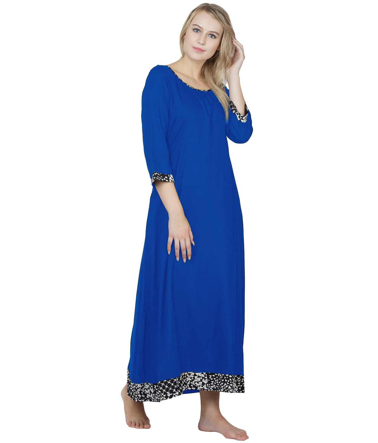 Shift Style Maxi Nighty in Turquoise Blue
