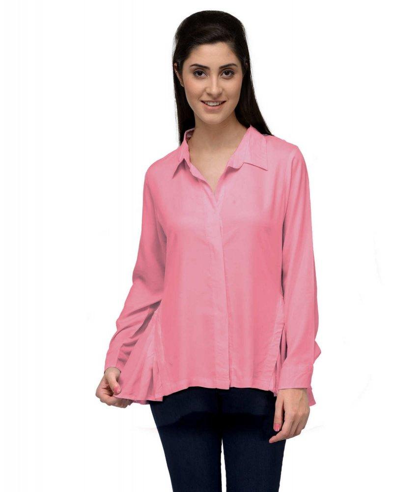 Side Frill Formal Shirt  in Vinyl Hot Pink