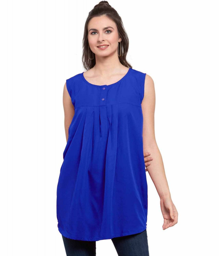 Sleeveless Henley Top in Royal Blue