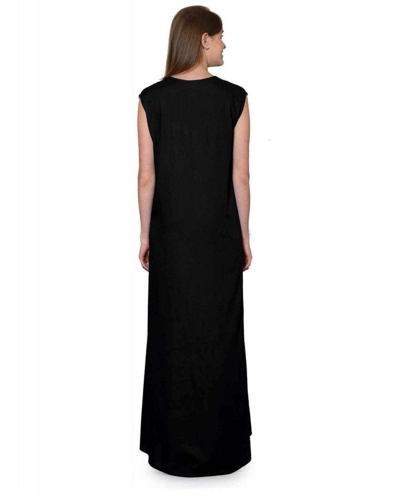 Sleeveless Maxi Nighty With Half Stylish Robe in Black: Cream