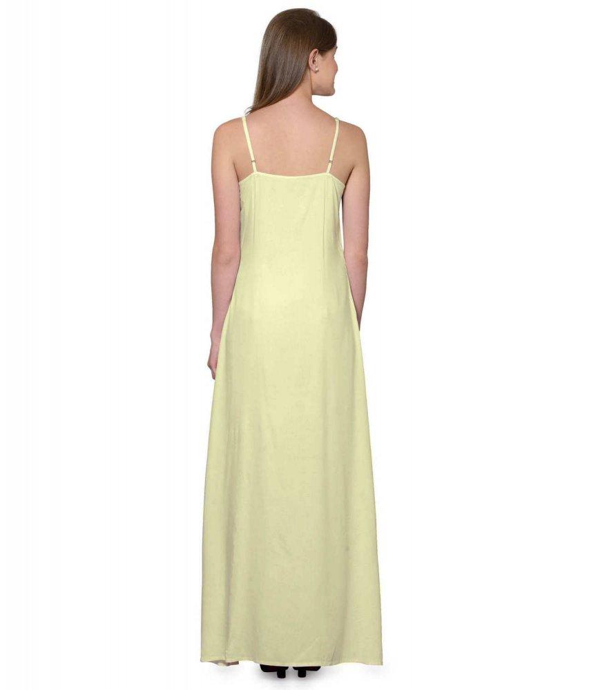 Sleeveless Maxi Nighty With Half Stylish Robe in Bottle Green: Cream