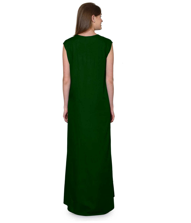 Sleeveless Maxi Nighty With Half Stylish Robe in Bottle Green: Gold