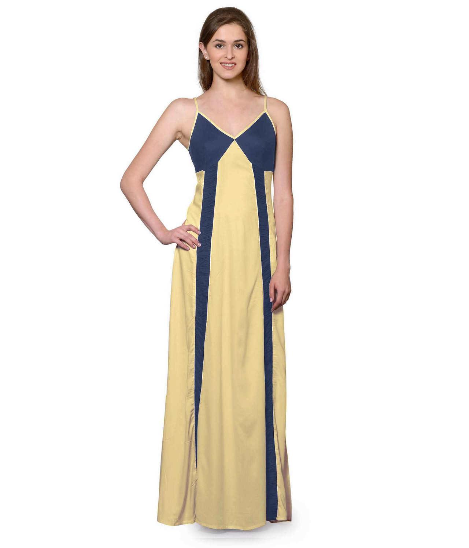 Sleeveless Maxi Nighty With Half Stylish Robe in Charcoal Grey: Gold