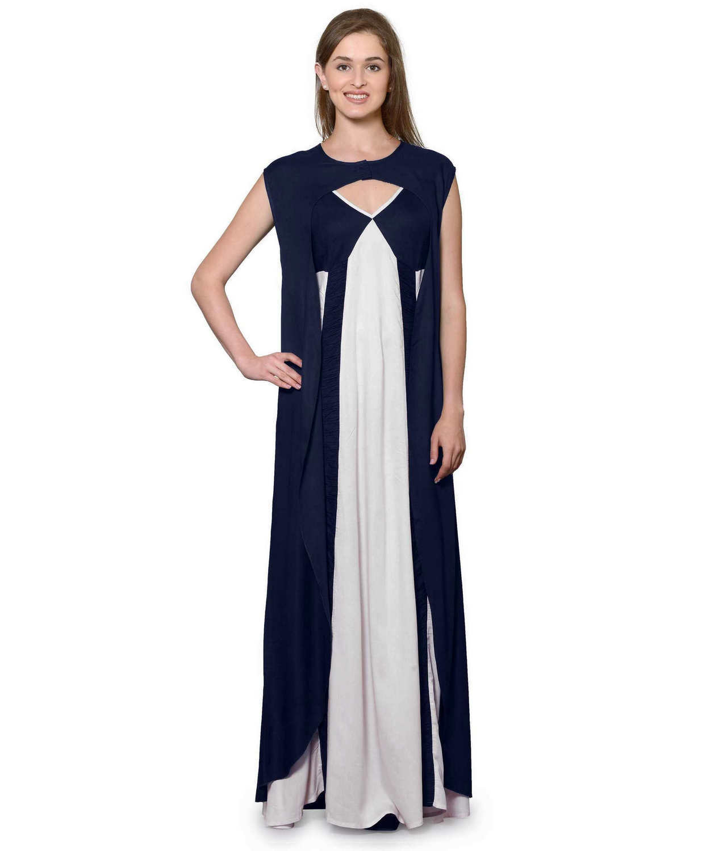 Sleeveless Maxi Nighty With Half Stylish Robe in Dark Blue: White