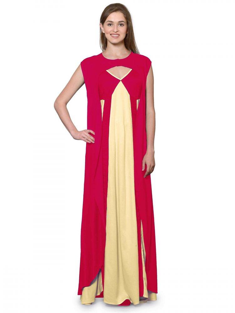 Sleeveless Maxi Nighty With Half Stylish Robe in Fuchsia: Gold