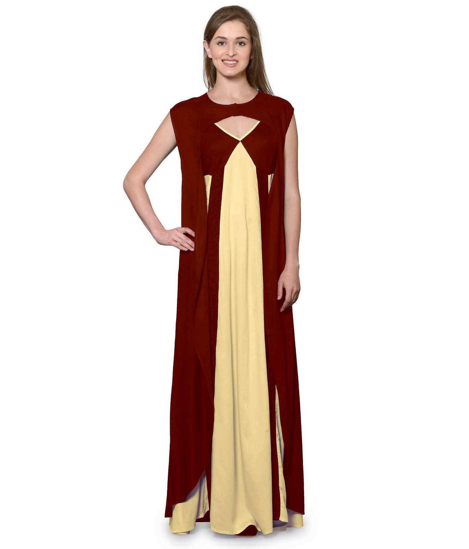 Sleeveless Maxi Nighty With Half Stylish Robe in Maroon: Gold