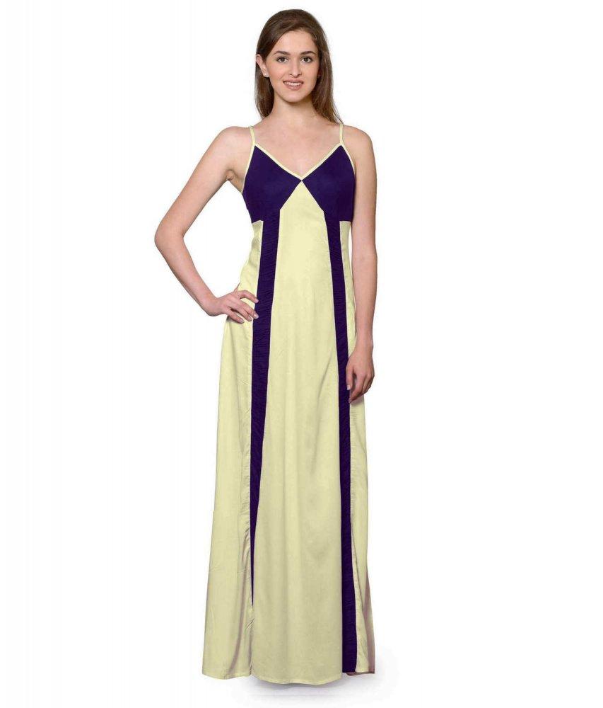 Sleeveless Maxi Nighty With Half Stylish Robe in Purple: Cream