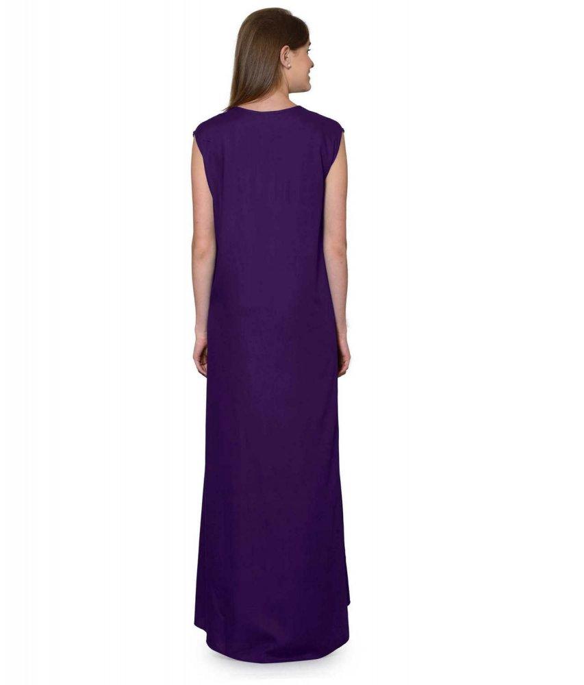 Sleeveless Maxi Nighty With Half Stylish Robe in Purple: Gold