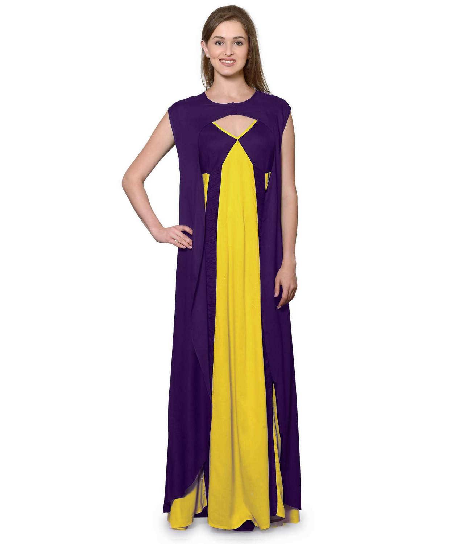 Sleeveless Maxi Nighty With Half Stylish Robe in Purple: Mustard