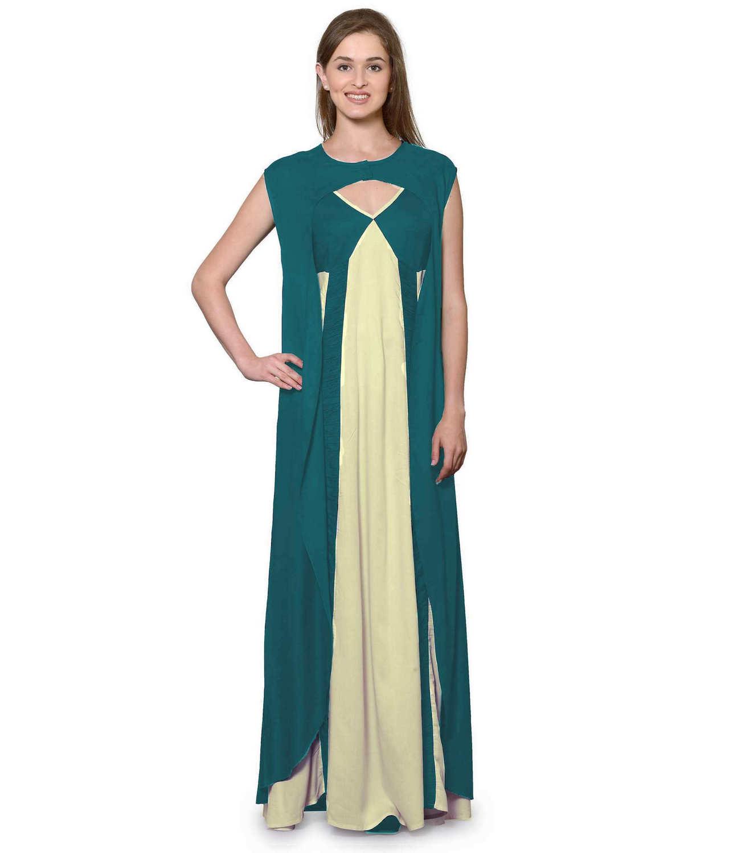 Sleeveless Maxi Nighty With Half Stylish Robe in Rama Green: Cream