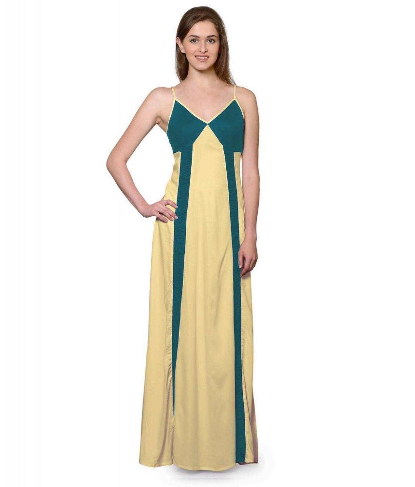 Sleeveless Maxi Nighty With Half Stylish Robe in Rama Green: Gold