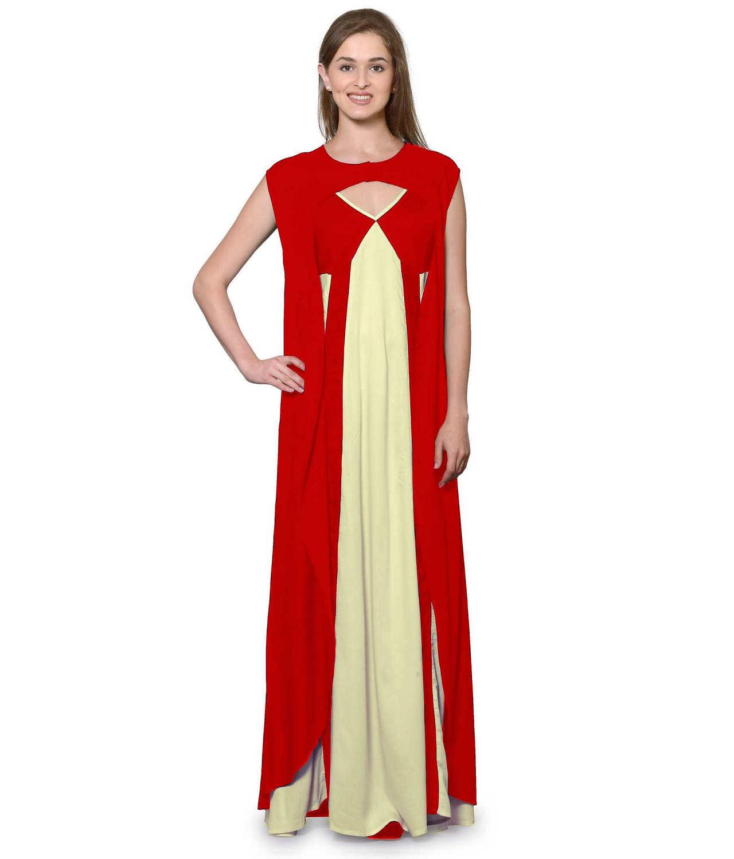 Sleeveless Maxi Nighty With Half Stylish Robe in Red: Cream