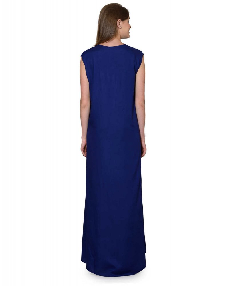 Sleeveless Maxi Nighty With Half Stylish Robe in Royal Blue: Pink