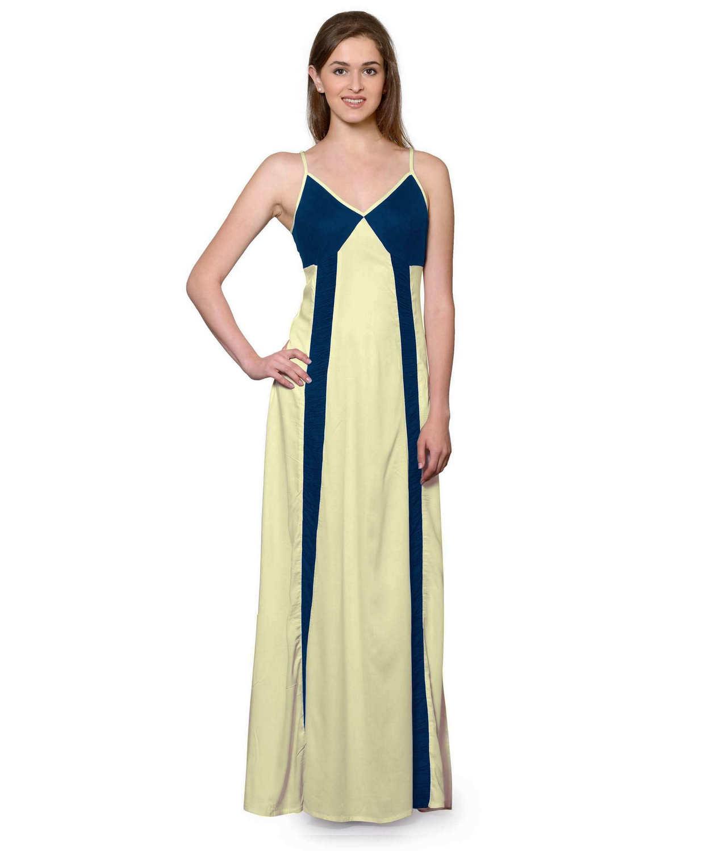 Sleeveless Maxi Nighty With Half Stylish Robe in Sky Blue: Cream