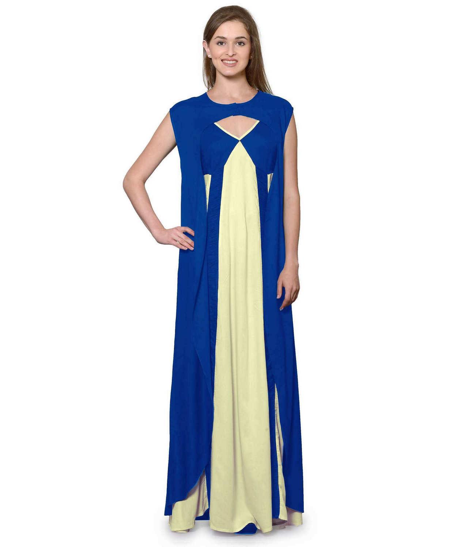 Sleeveless Maxi Nighty With Half Stylish Robe in Turquoise: Cream